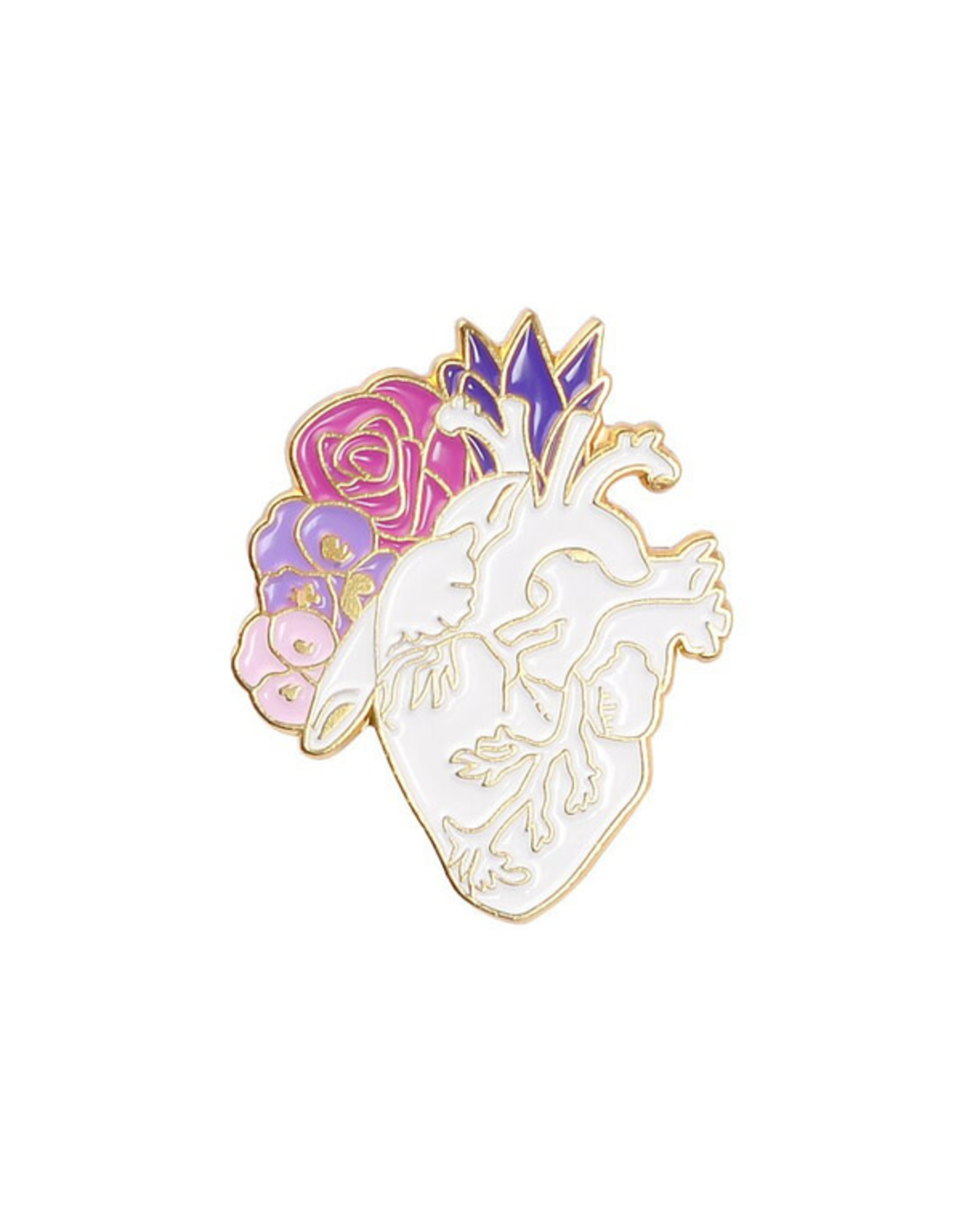 Pin - Heart With Flowers - White