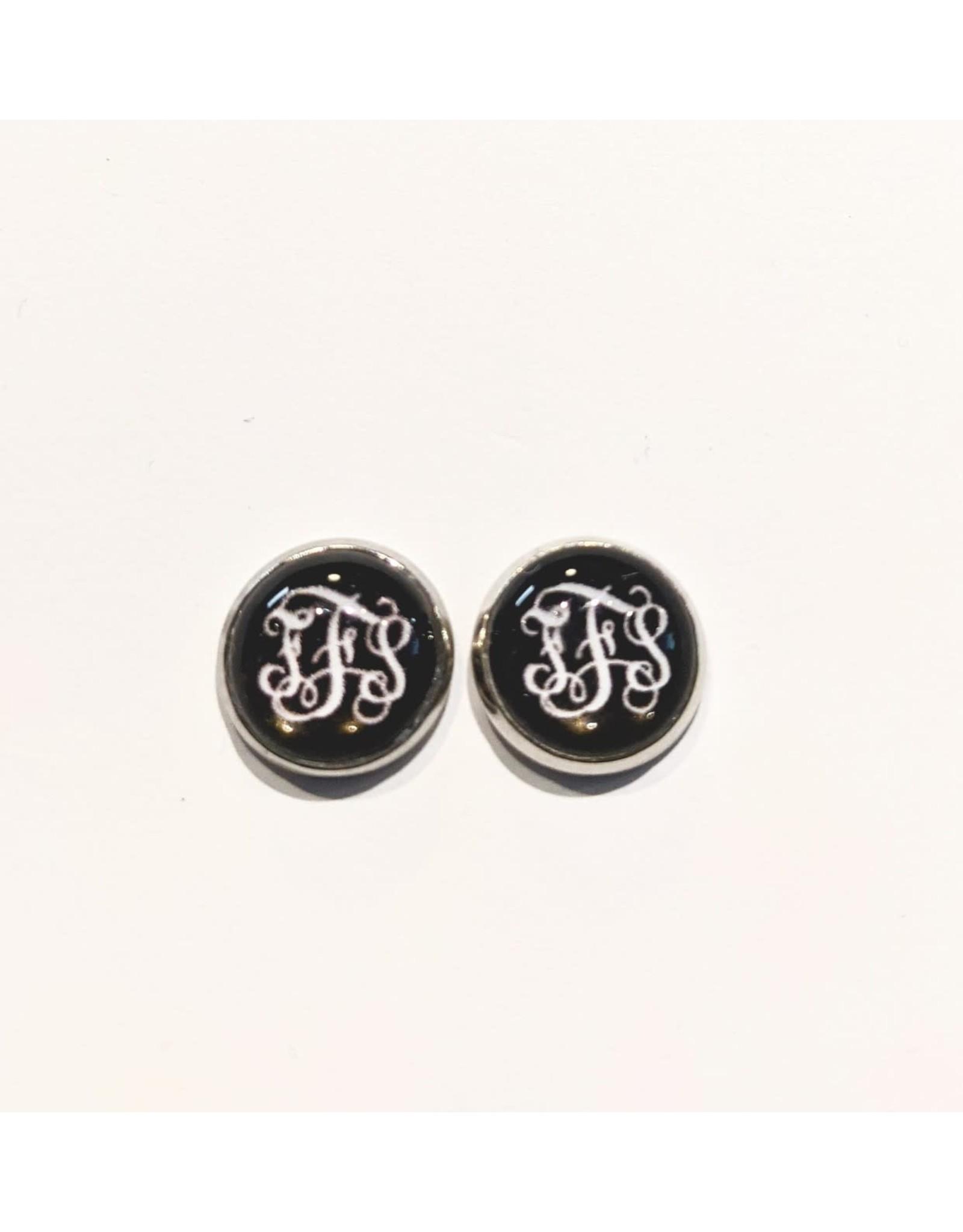Pish Posh Pendants Earrings - FFS - Black With White Letters