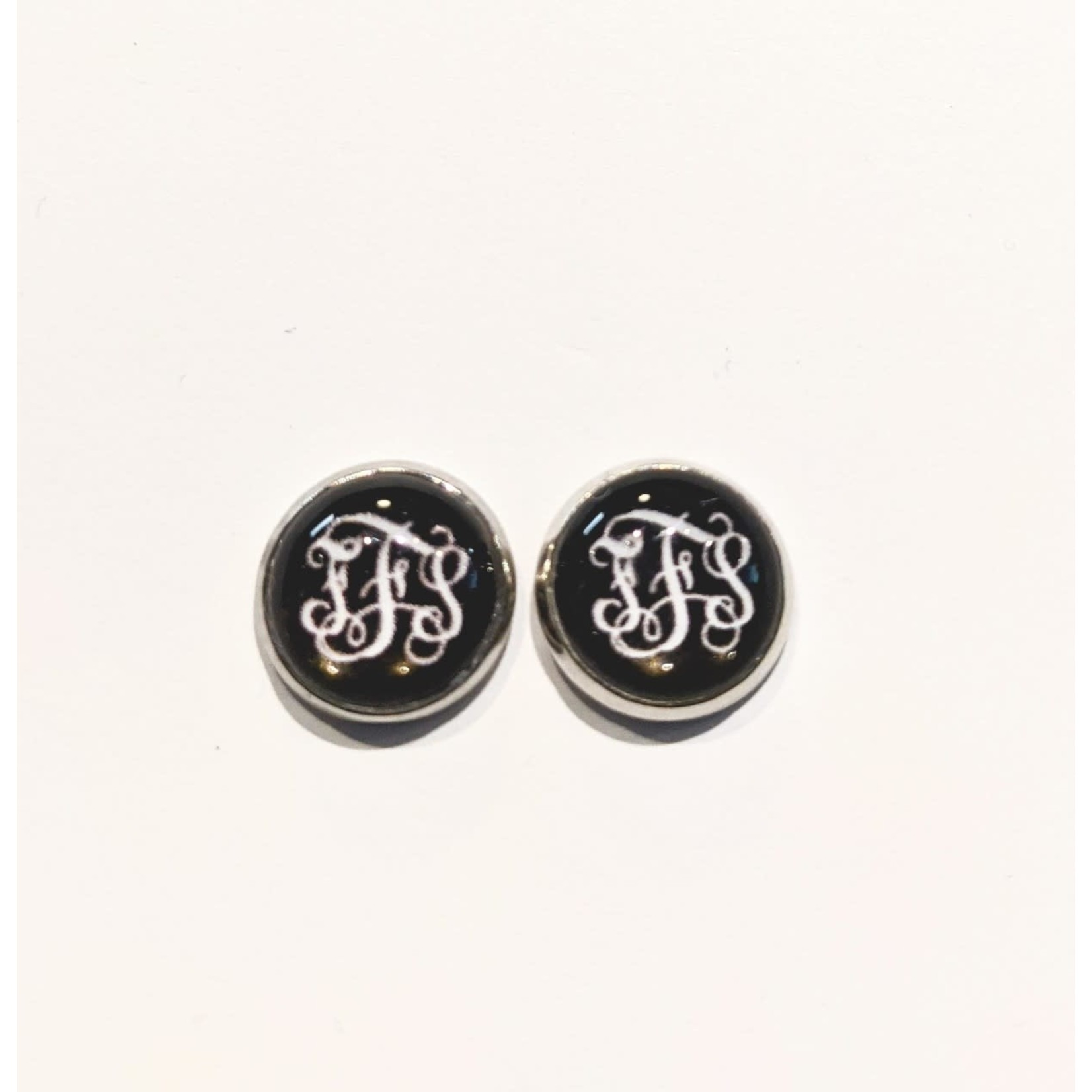 Earrings - FFS - Black With White Letters