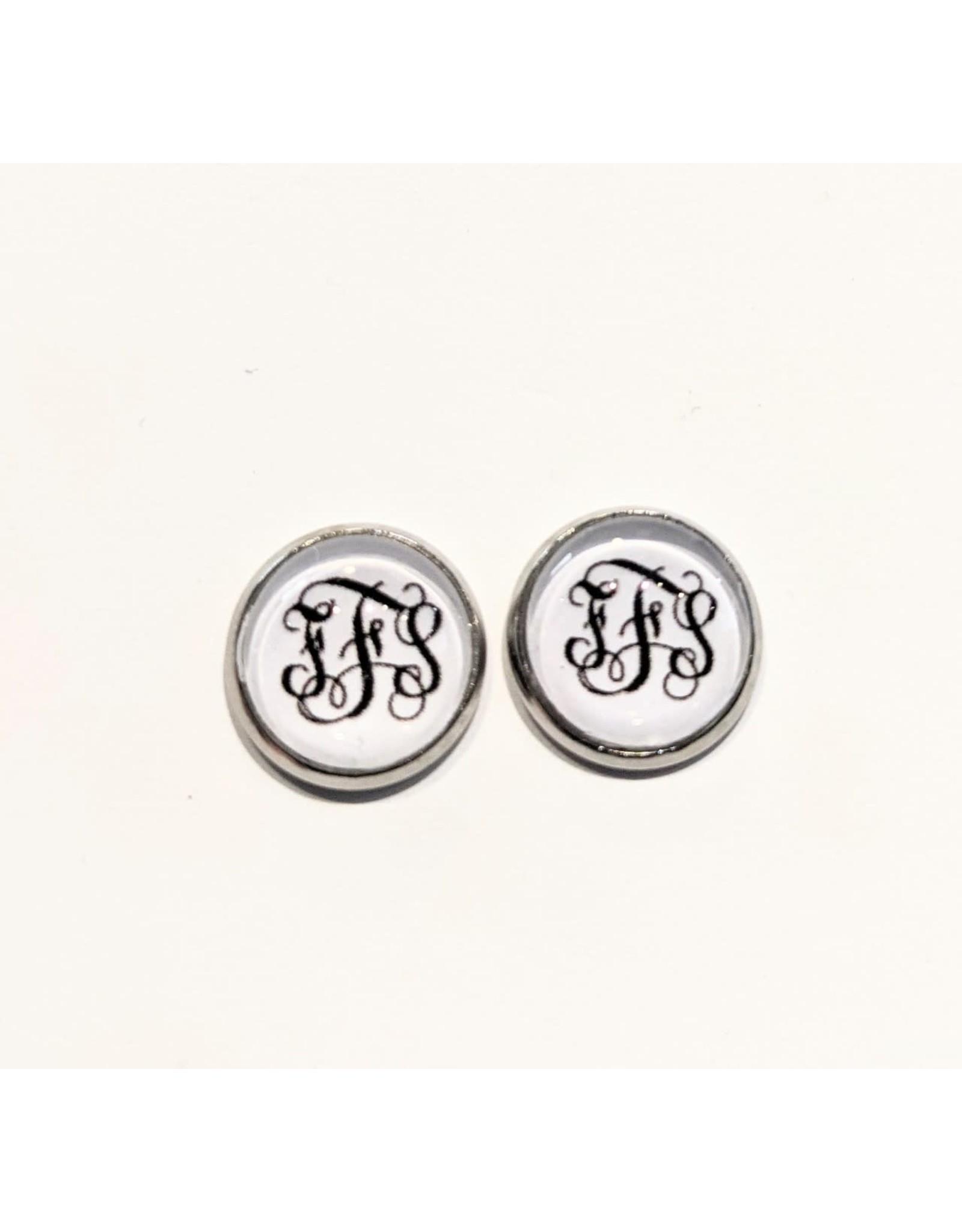 Pish Posh Pendants Earrings - FFS - White With Black Letters