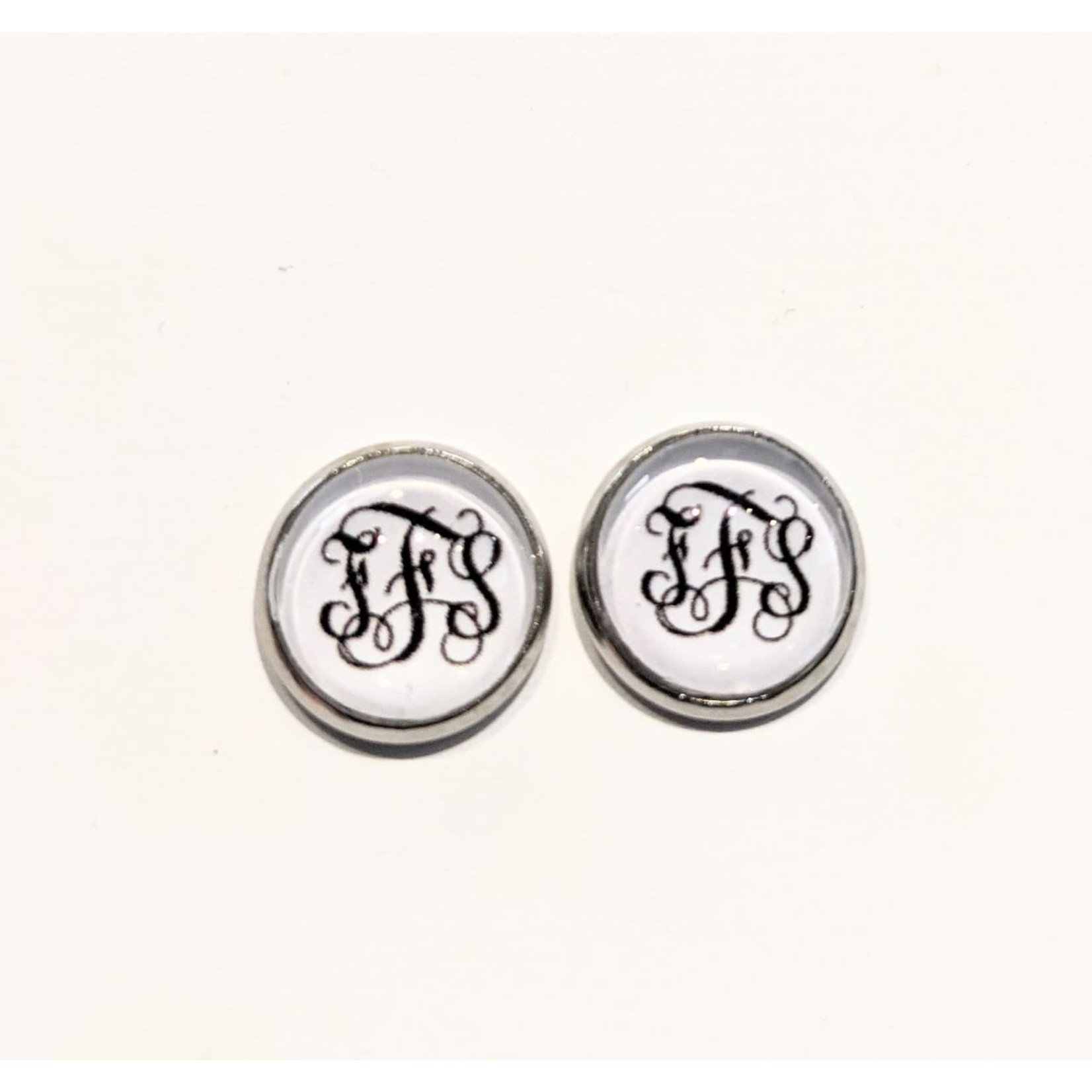 Earrings - FFS - White With Black Letters