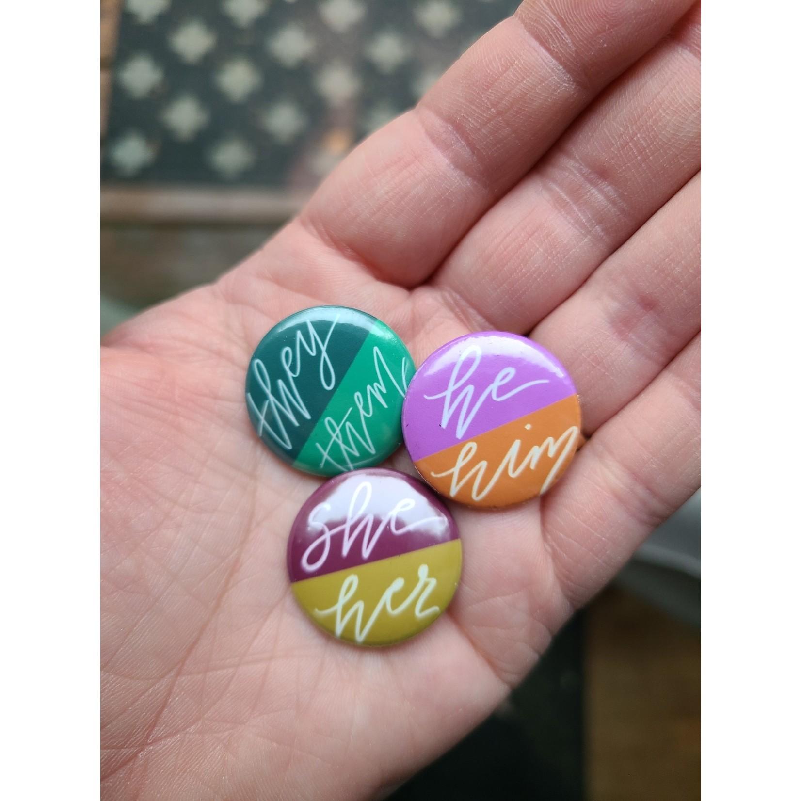 Flat Round Button - Pronouns - They/Them