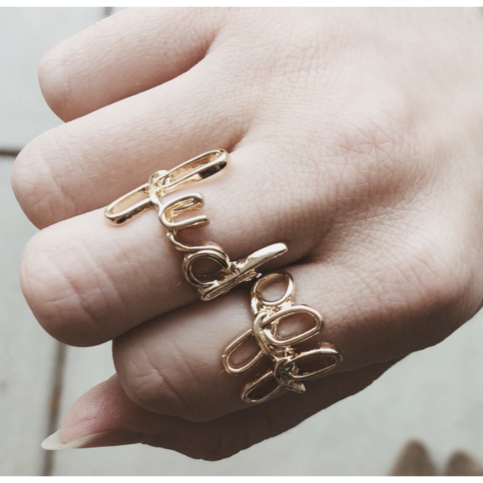 Ring Set - Fuck Off - Silver Size 6