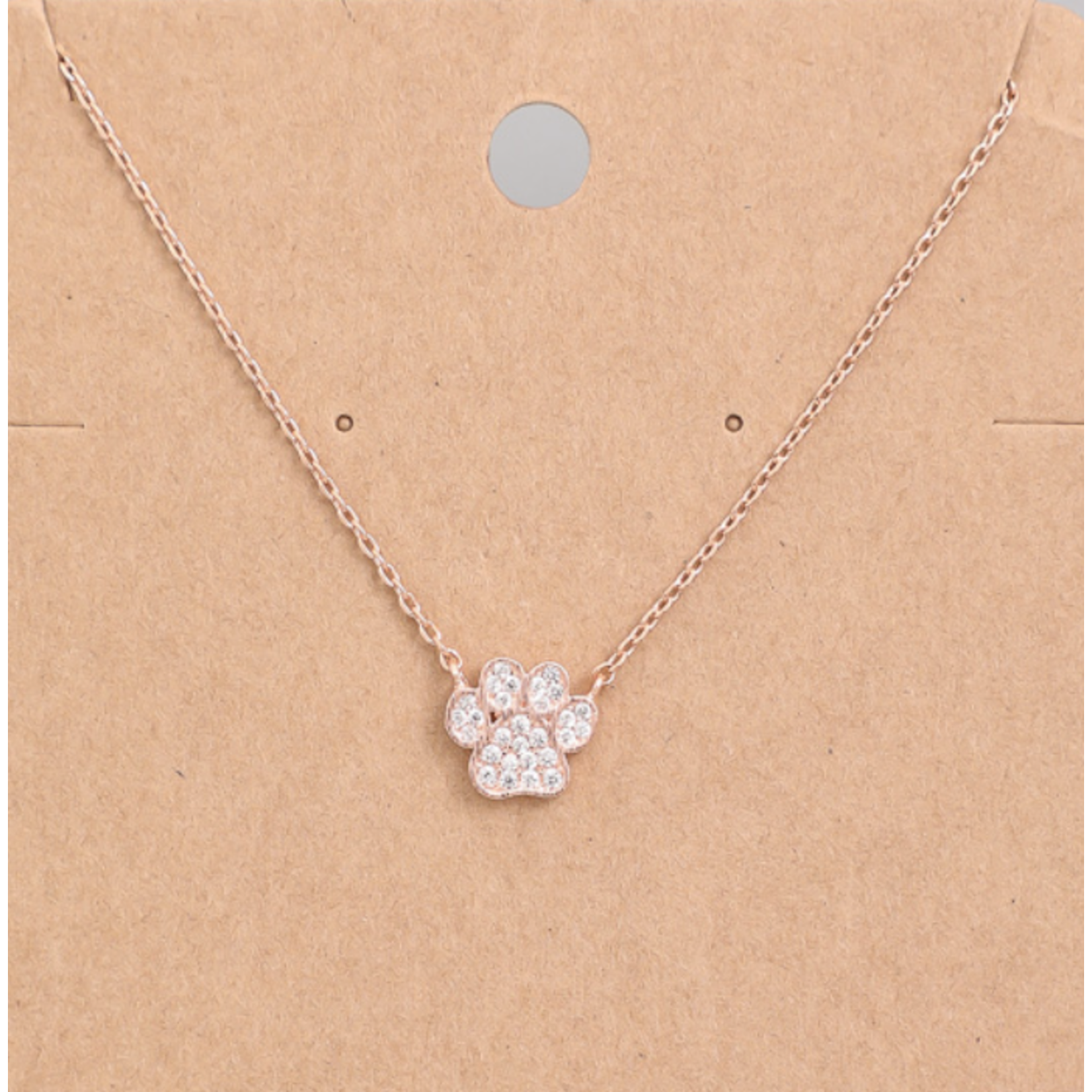 Necklace - Paw Print - Rose Gold Tone
