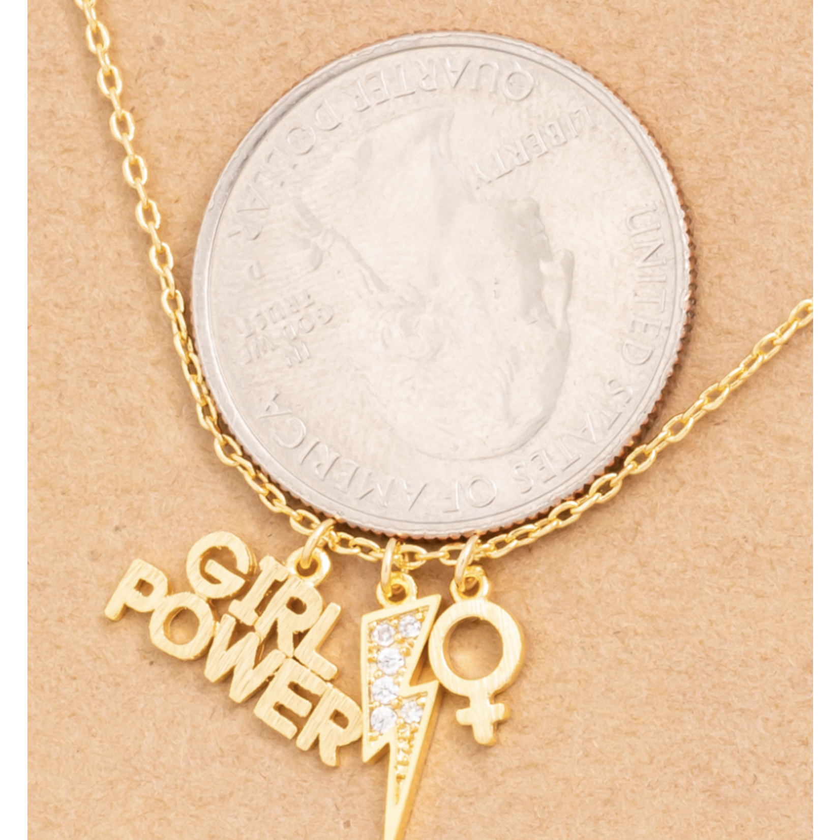 Necklace - Girl Power - 18K Gold Dipped