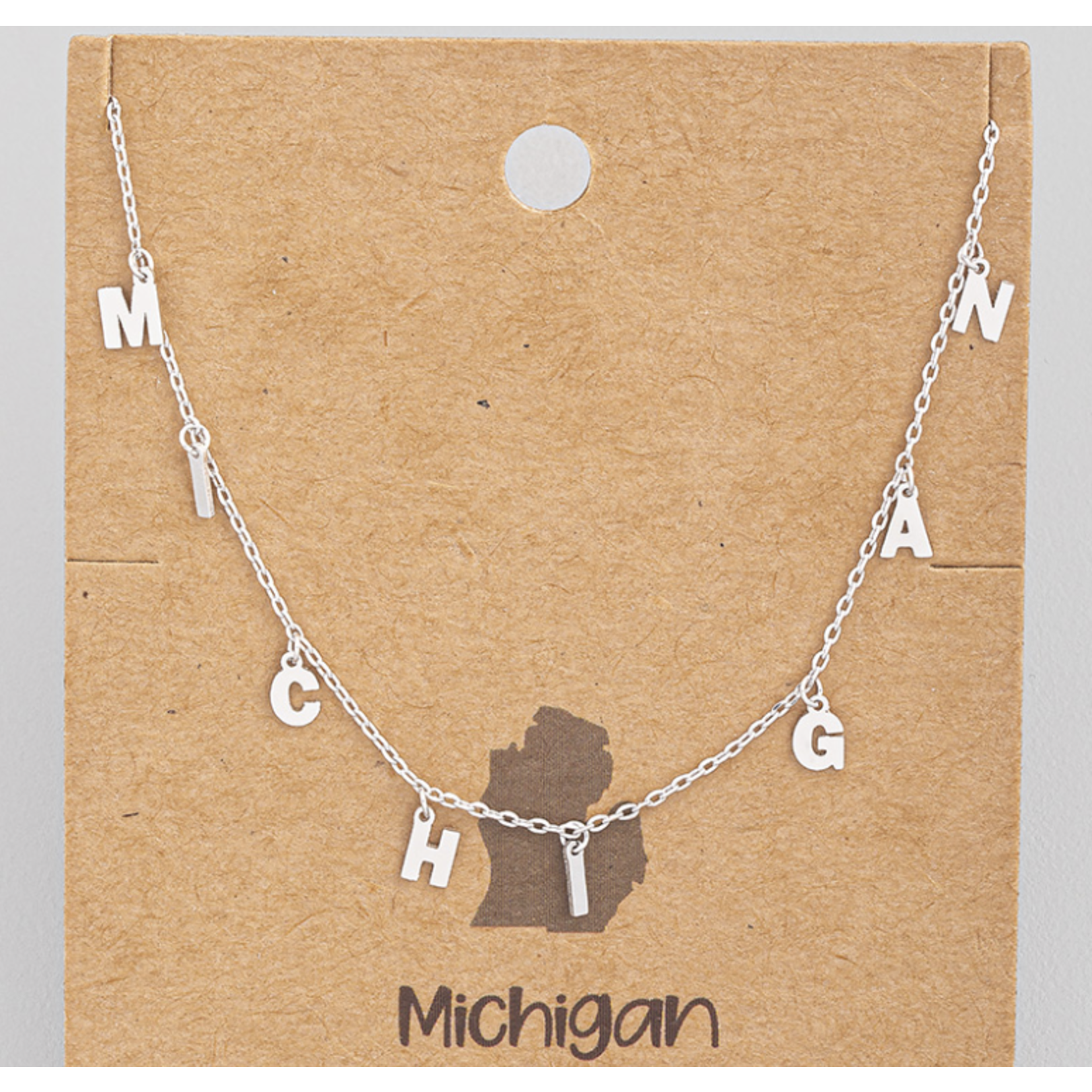 Necklace - M-I-C-H-I-G-A-N - letters in silver