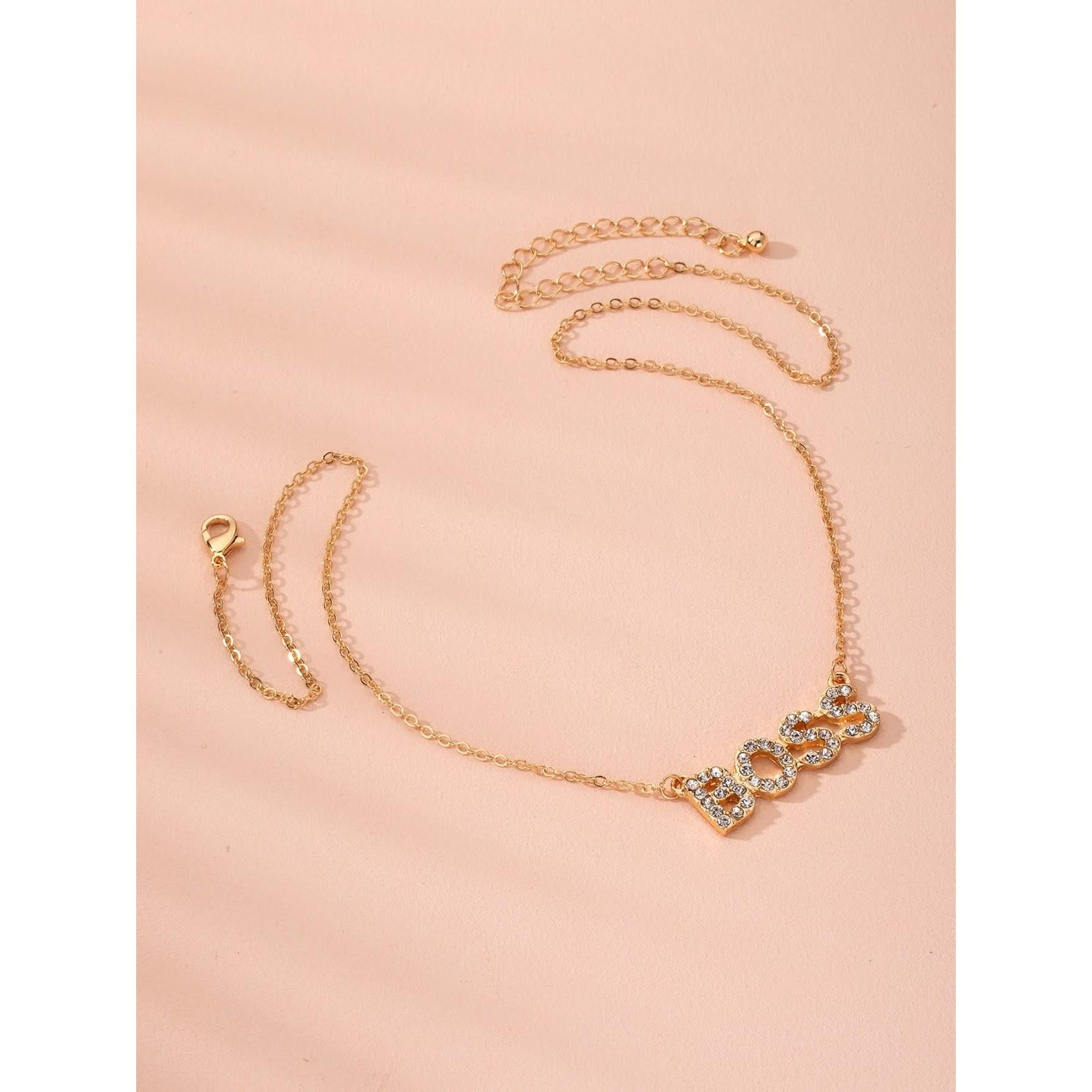 Necklace - Boss - Rhinestone/ Gold Tone