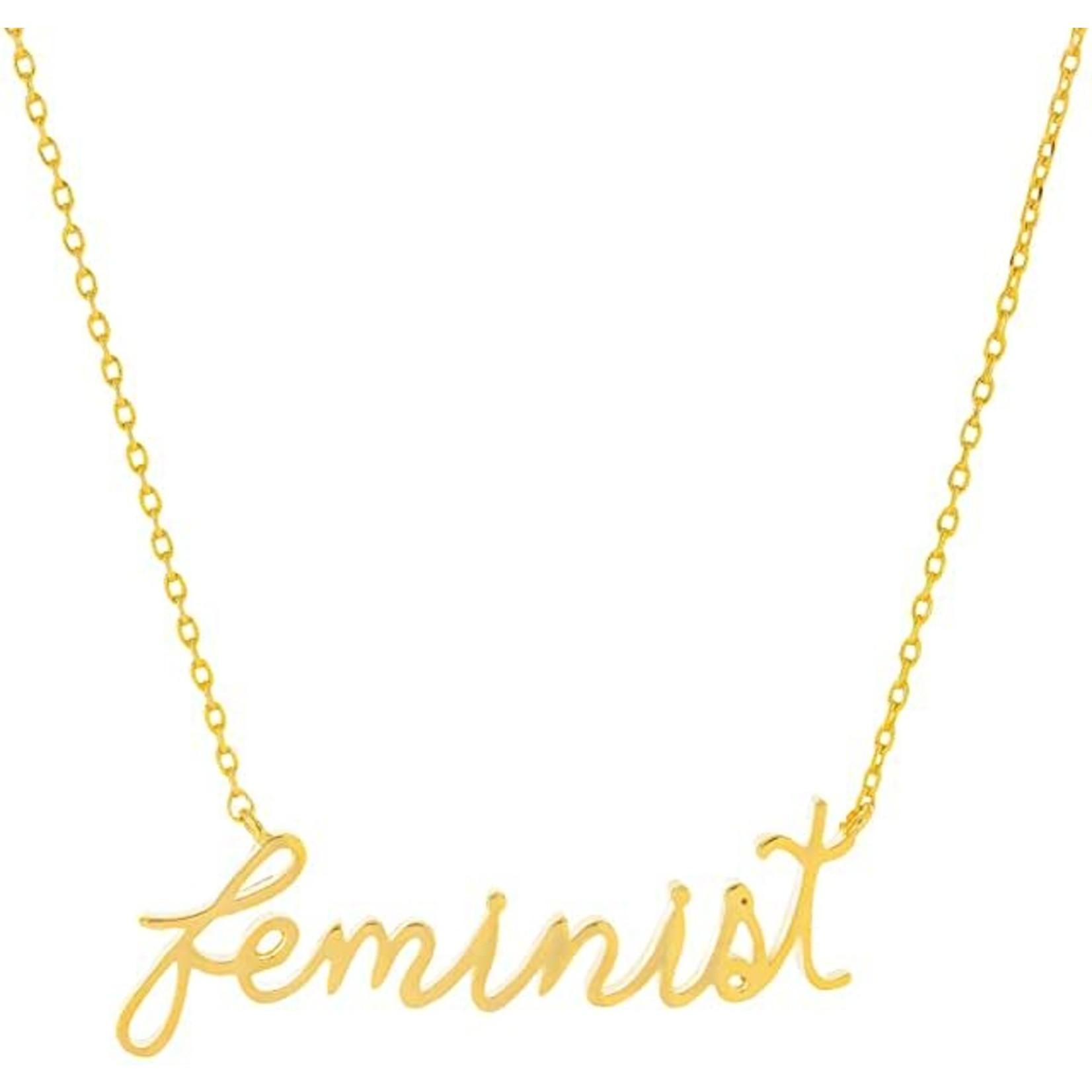 "Necklace - Feminist (Cursive) Gold Tone 16""+2"" Extender"