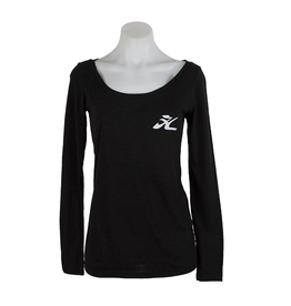 Hobie Hobie Ladies Charcoal Long Sleeve T-Shirt, Scoop Neck, Flying H Logo