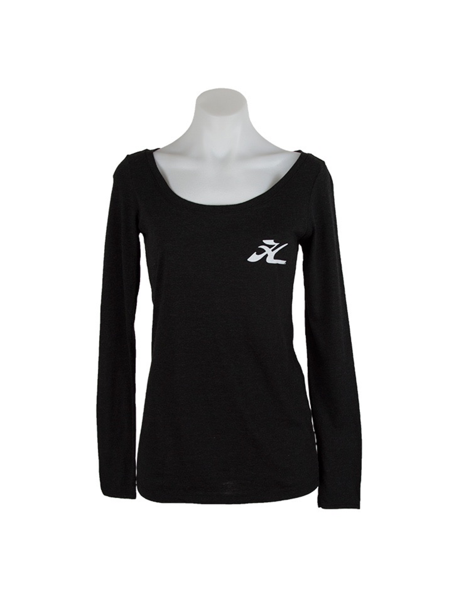 Hobie Hobie Ladies Charcoal Long Sleeve T-Shirt, Scoop Neck, Flying H Logo