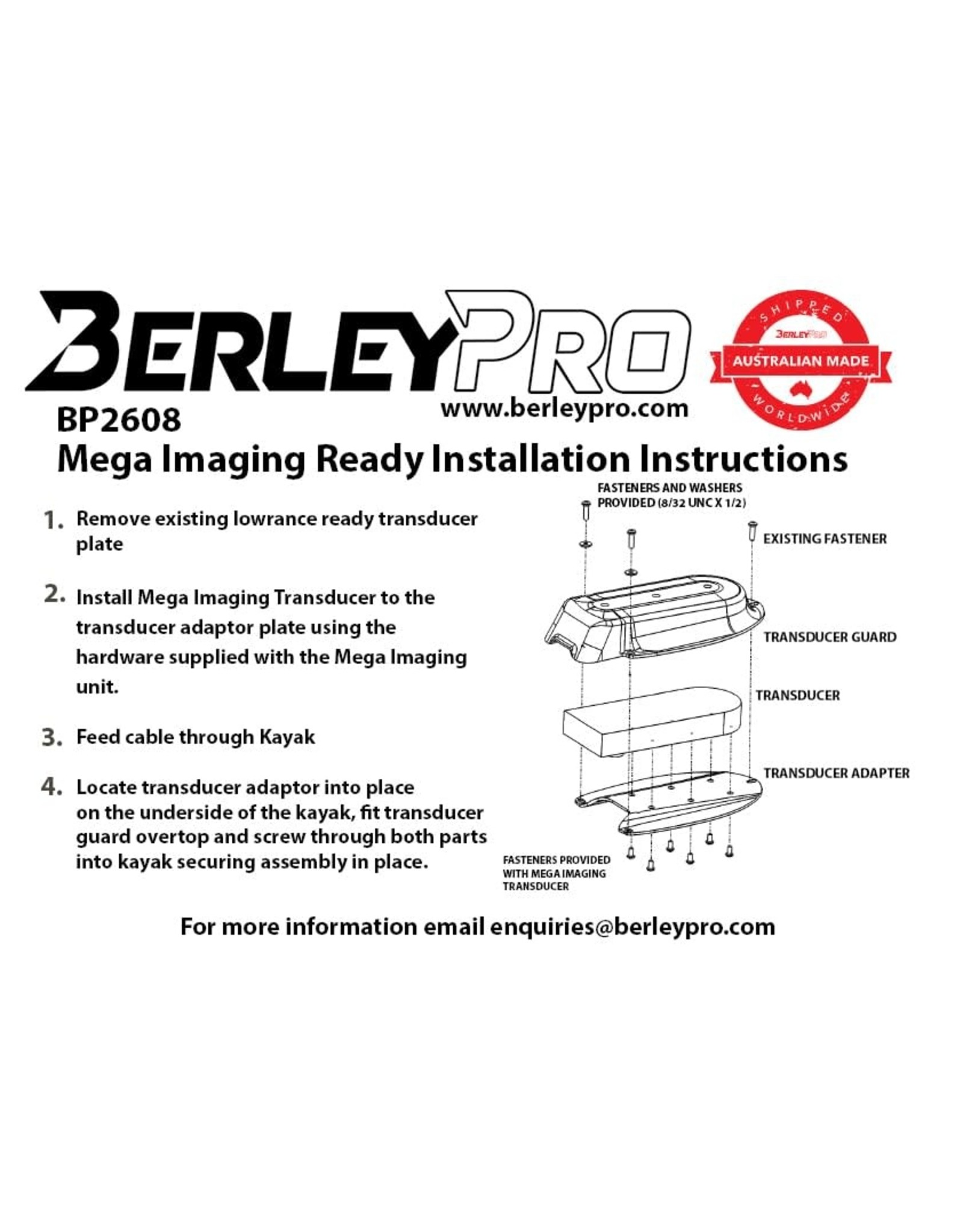 BerleyPro BerleyPro Humminbird Mega Imaging Ready Transducer Mount - BP2608