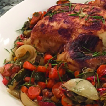 Pressure Cooker Whole Roasted Chicken & Vegetables