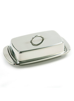 Norpro Double Covered Butter Dish - Stainless Steel