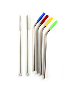 Norpro SS Straw, Silicone Tipped W/2 Cleaning Brushes