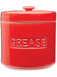 Fox Run Porcelain Grease Container-Red
