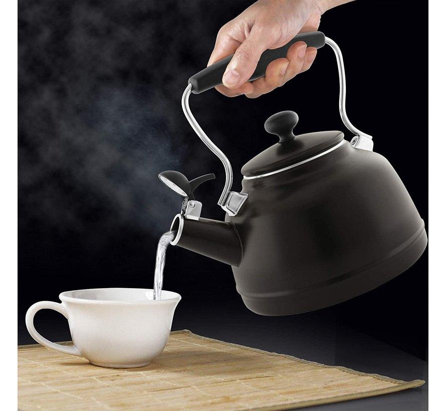 Vintage Teakettle -  Matte Black 1.7 Qt.
