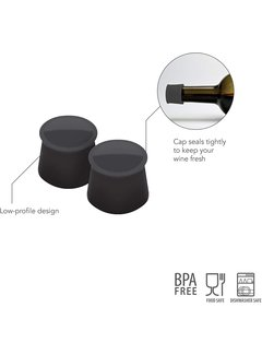 Tovolo Silicone Wine Caps - Charcoal (Set of 2)