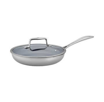 """Zwilling Cookware Clad CFX SS NS 9.5"""" Fry Pan w/lid"""