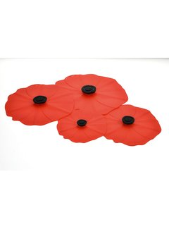 Charles Viancin Poppy Lid (Red) Gift-Box - Set/4 (11'', 9'', 6'', 4'')