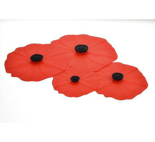 Charles Viancin Poppy Lid (Red) Gift-Box - Set/4 (11'', 9'', 6'', 4'')