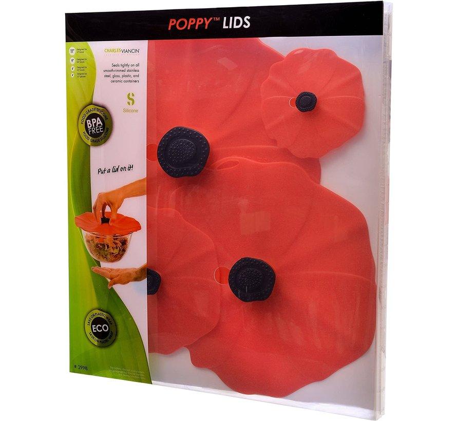 Poppy Lid (Red) Gift-Box - Set/4 (11'', 9'', 6'', 4'')