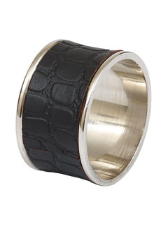 DII Black Croc Faux Leather Napkin Ring