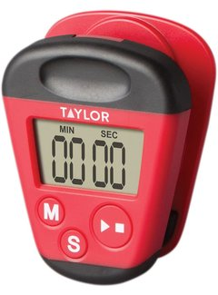 Taylor Magnetic Kitchen Clip Timer, Red