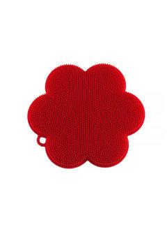 Kuhn Rikon Stay Clean Scrubber Flower Red