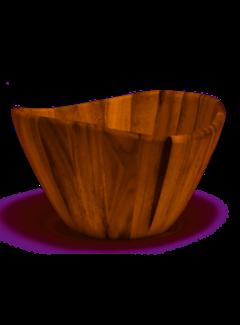 "Lipper Acacia 12"" Wave Rim Bowl"