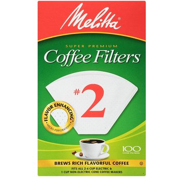 Melitta #2 Bleached Coffee Filters - 100 CT