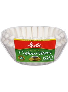 Melitta JR White,  4-6 Cup Basket Coffee Filter - 100 Ct