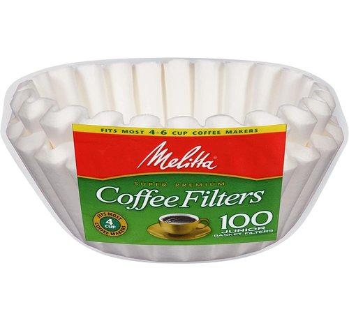 Melitta JR White,  4-6 Cup Basket Coffee Filter - 100 Ct