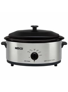 Nesco Roaster Porcelain Pro, 6 Qt. Stainless Steel