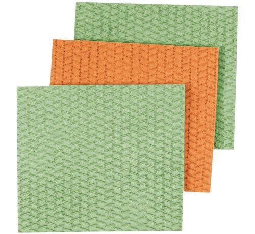 Casabella Large Cellulose Sponge Cloths - Lime, Orange 3pk Asst.