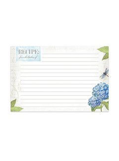 Brownlow Gifts Hydrangea Recipe Cards