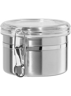 Oggi Clamp Canister, Stainless Steel W/Clear Acrylic Lid - 26oz