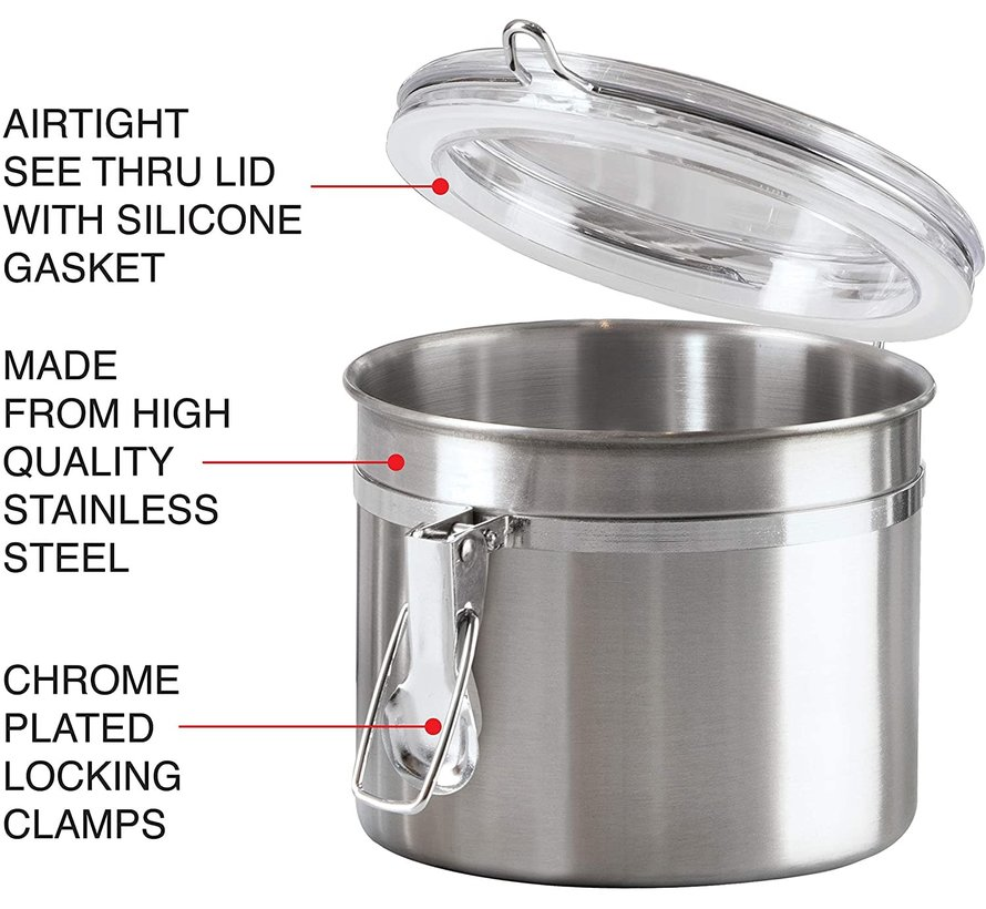 Oggi Clamp Canister Stainless Steel W Clear Acrylic Lid 26oz Spoons N Spice