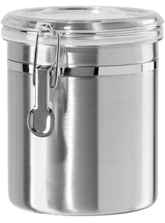 Oggi Clamp Canister, Stainless Steel W/Clear Acrylic Lid - 47oz