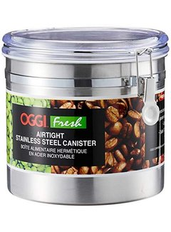 Oggi Clamp Jumbo Canister, Stainless Steel W/Clear Acrylic Lid - 50OZ