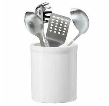 """Oggi Ceramic Utensil Holder 7"""" High - White"""