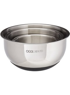 Oggi Stainless Steel Bowl Set W/Lids & Silicone Base