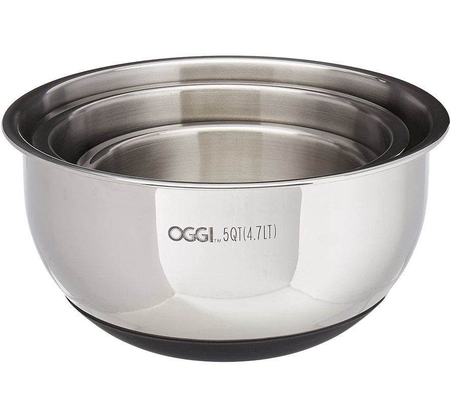 Oggi Stainless Steel Bowl Set W Lids Silicone Base Spoons N Spice