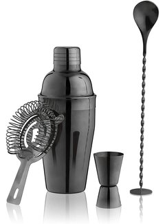 True Gunmetal Black Barware Set