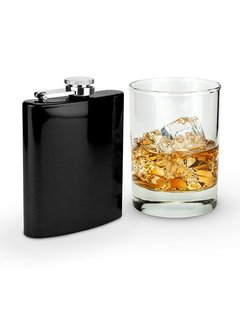 True Brands Glossy Black 6 Ounce Flask