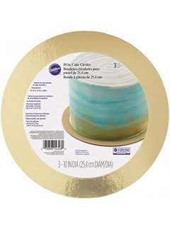 "Wilton Cake Board Gold 10"" - 3 Count"