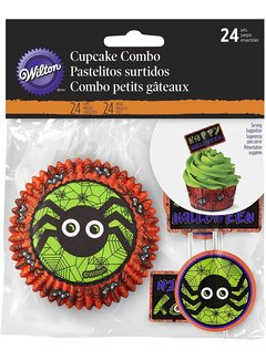 Wilton Cupcake Spider Cups & Toppers - 24 piece set