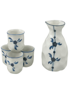 Fuji Sake Set, White 5 Piece