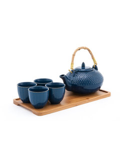 Fuji Tea Set With Strainer & Tray, Blue