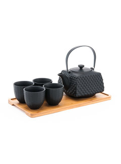 Fuji Tea Set With Strainer & Tray, Black