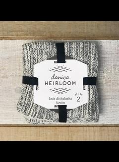 Now Designs Heirloom Knit Dishcloth Set of 2  - Shadow